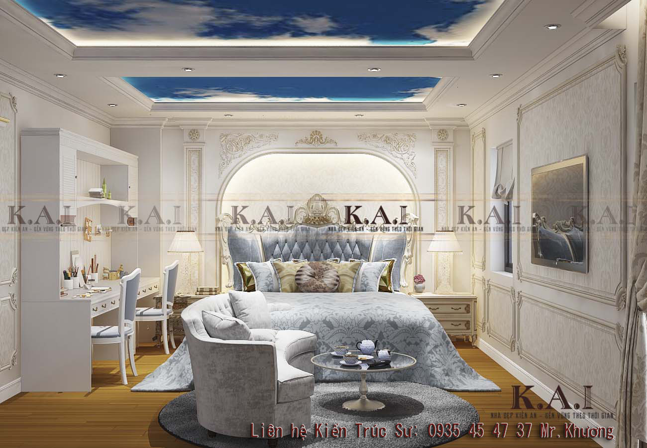 Thiết kế nội thất tân cổ điển châu Âu biệt thự KĐT Vạn Phúc