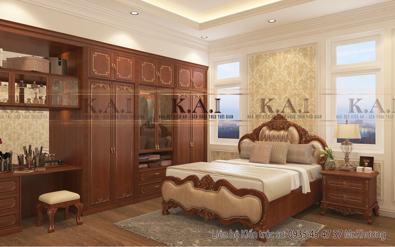 Thiết kế nội thất phòng ngủ hình vuông 20m2