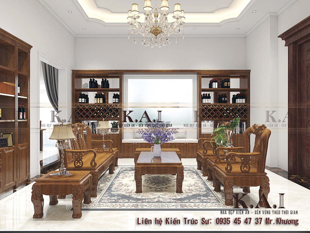 Thiết kế nội thất tân cổ điển gỗ tự nhiên đẹp tại Long An