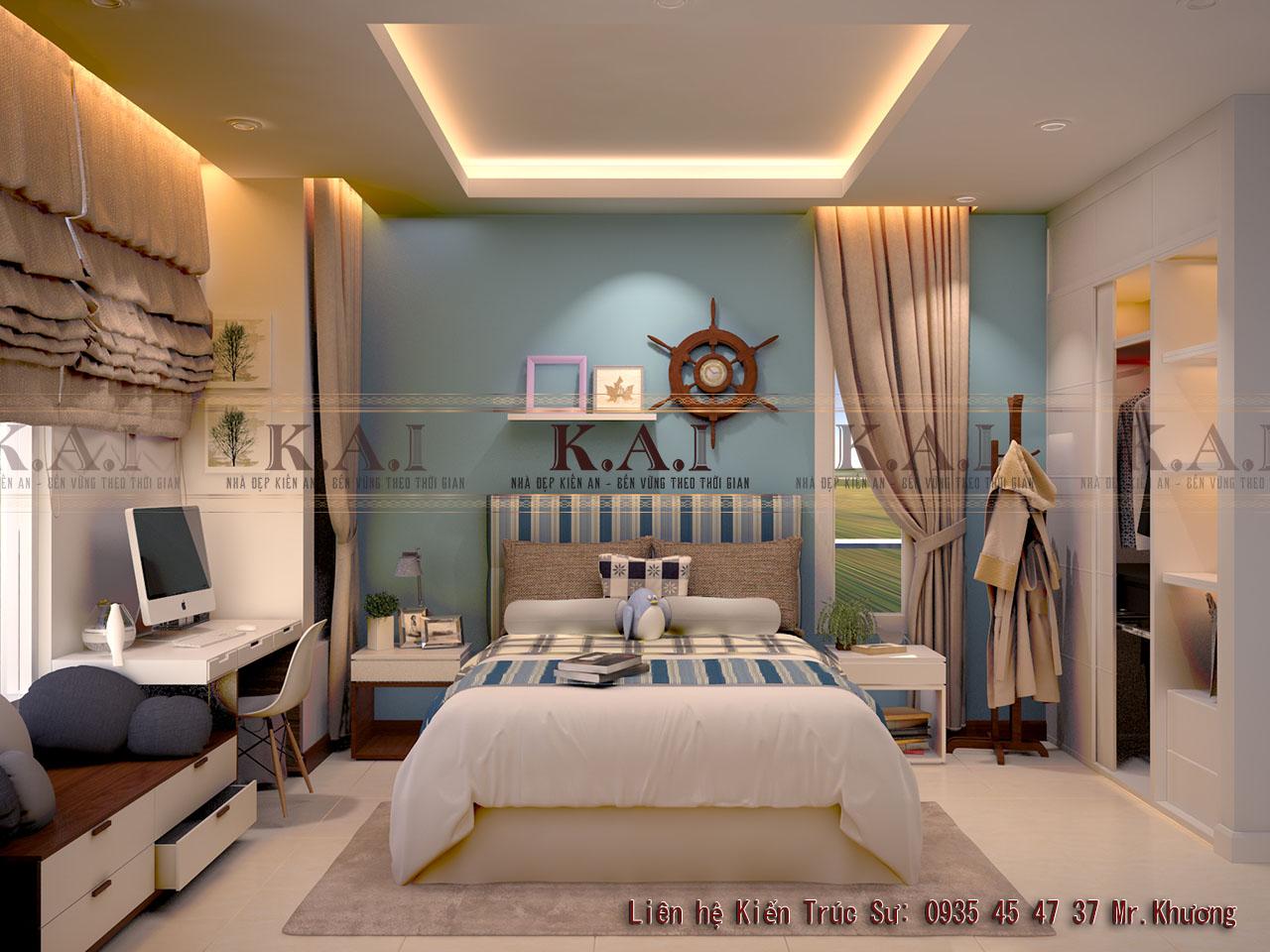 thiết kế nội thất phòng ngủ 16m2 cho con trai
