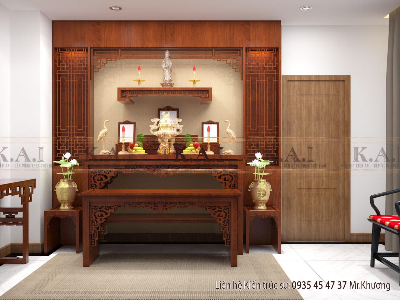 thiết kế nội thất nhà ống 80m2 - phòng thờ