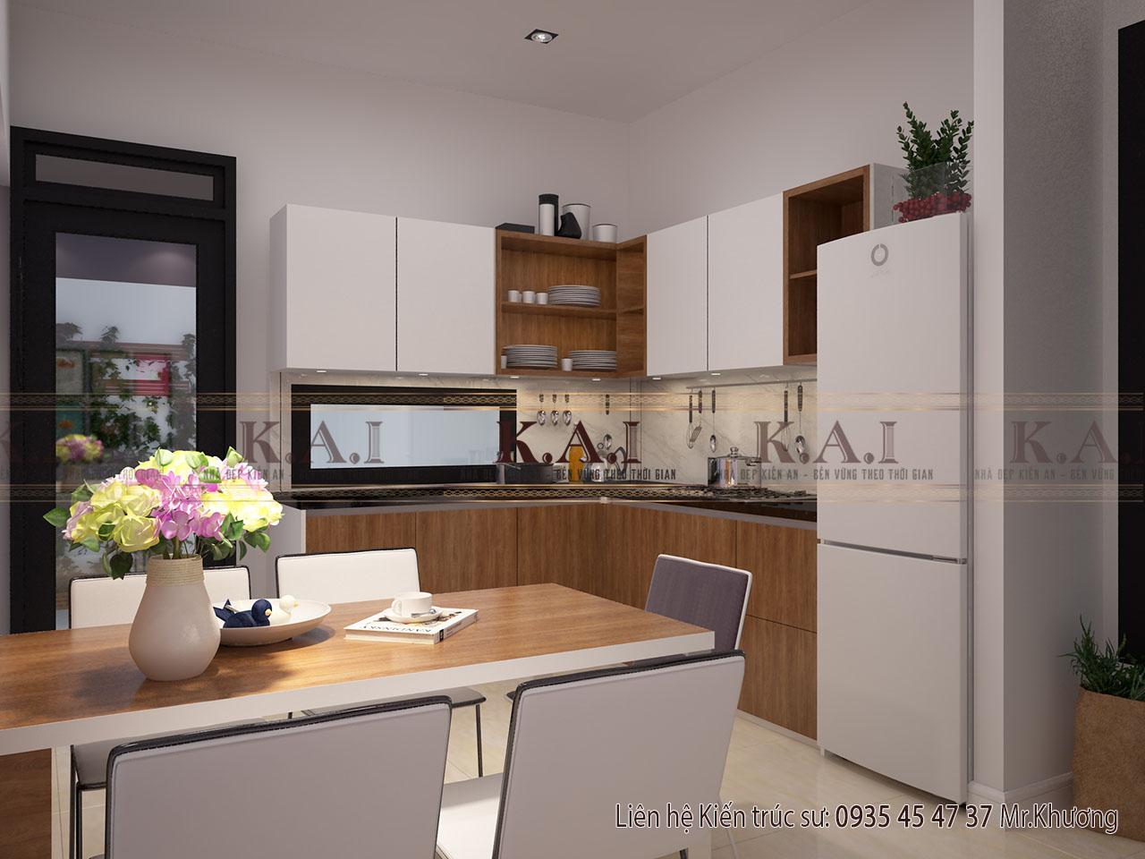 Phòng bếp 16m2 trong thiết kế nội thất 80m2