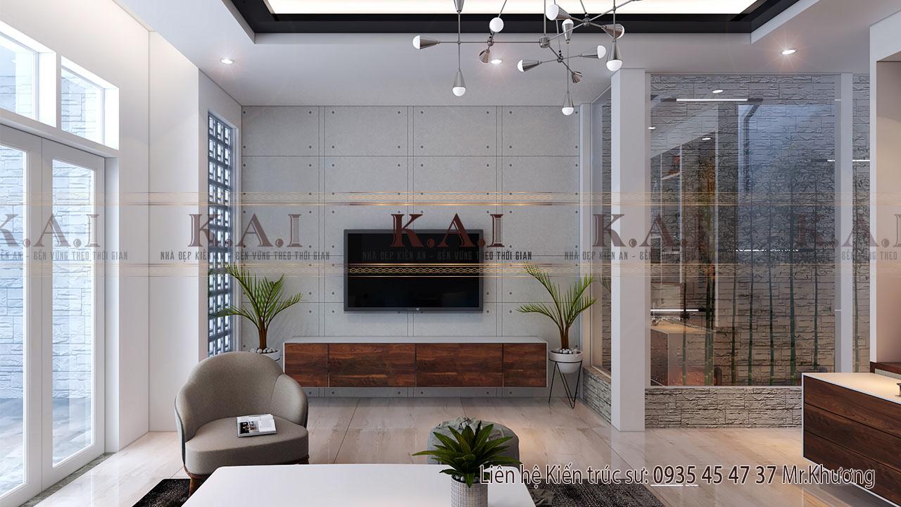 Kệ tivi tối giản để hòa hợp với phong cách hiện đại của phòng khách