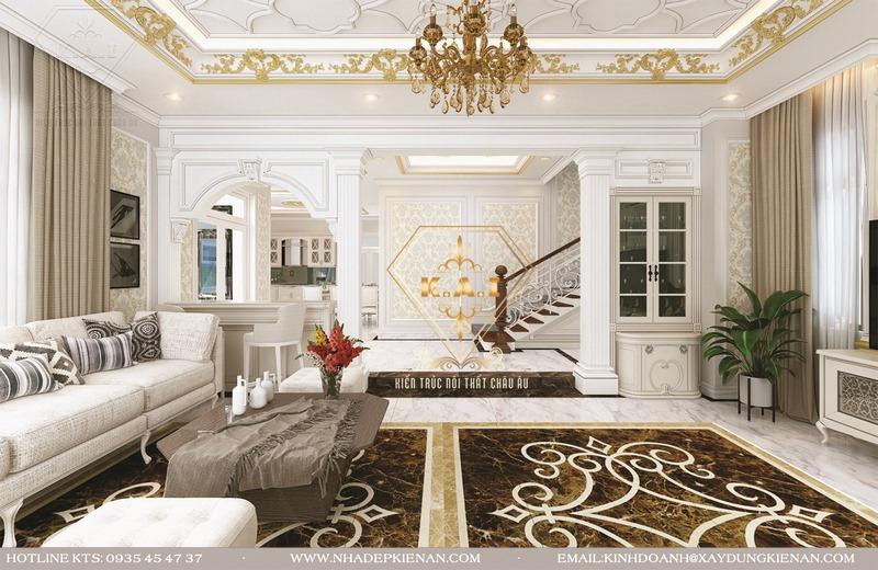 Mẫu cầu thang theo phong cách tân cổ điển cho biệt thự màu trắng