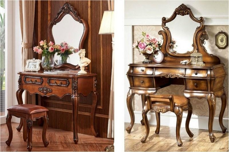 Bàn trang điểm bằng gỗ theo phong cách tân cổ điển