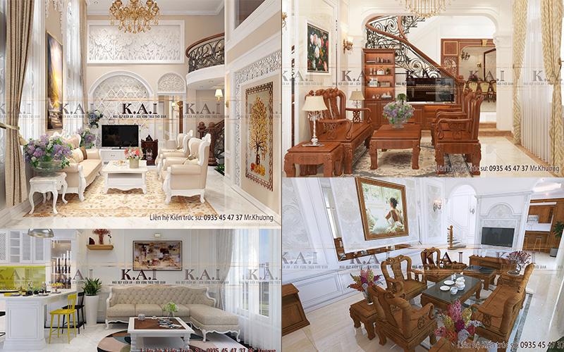 Thiết kế phòng khách tân cổ điển sang trọng và đẳng cấp 2021
