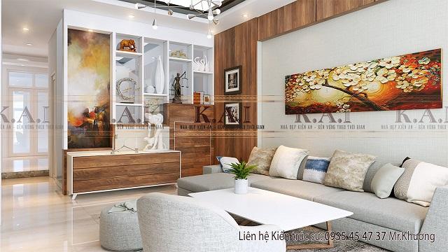 trang trí phòng khách nhà ống, Phòng khách sử dụng bộ ghế sofa dài kê sát tường để trông phòng rộng hơn
