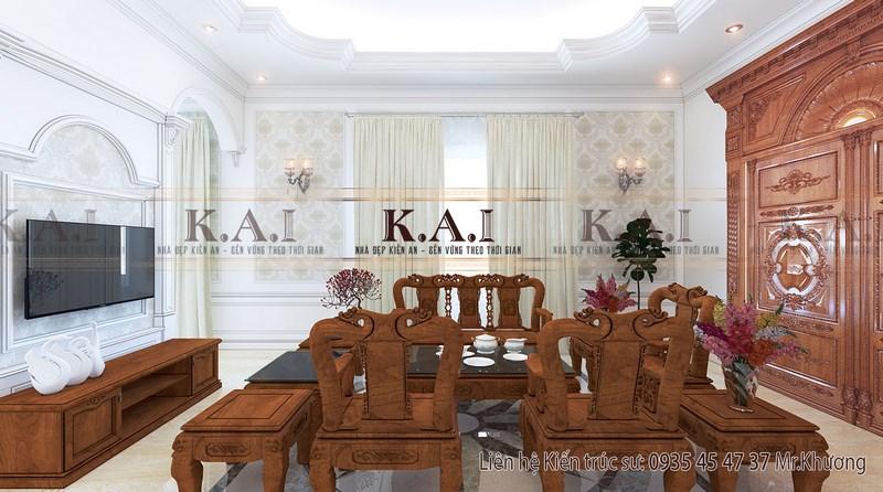 Mẫu trang trí phòng khách bằng gỗ sang trọng và hiện đại